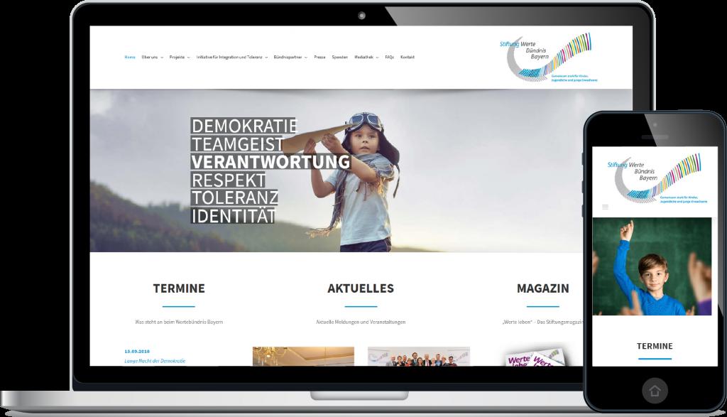 Projekt Website Wertebündnis Bayern